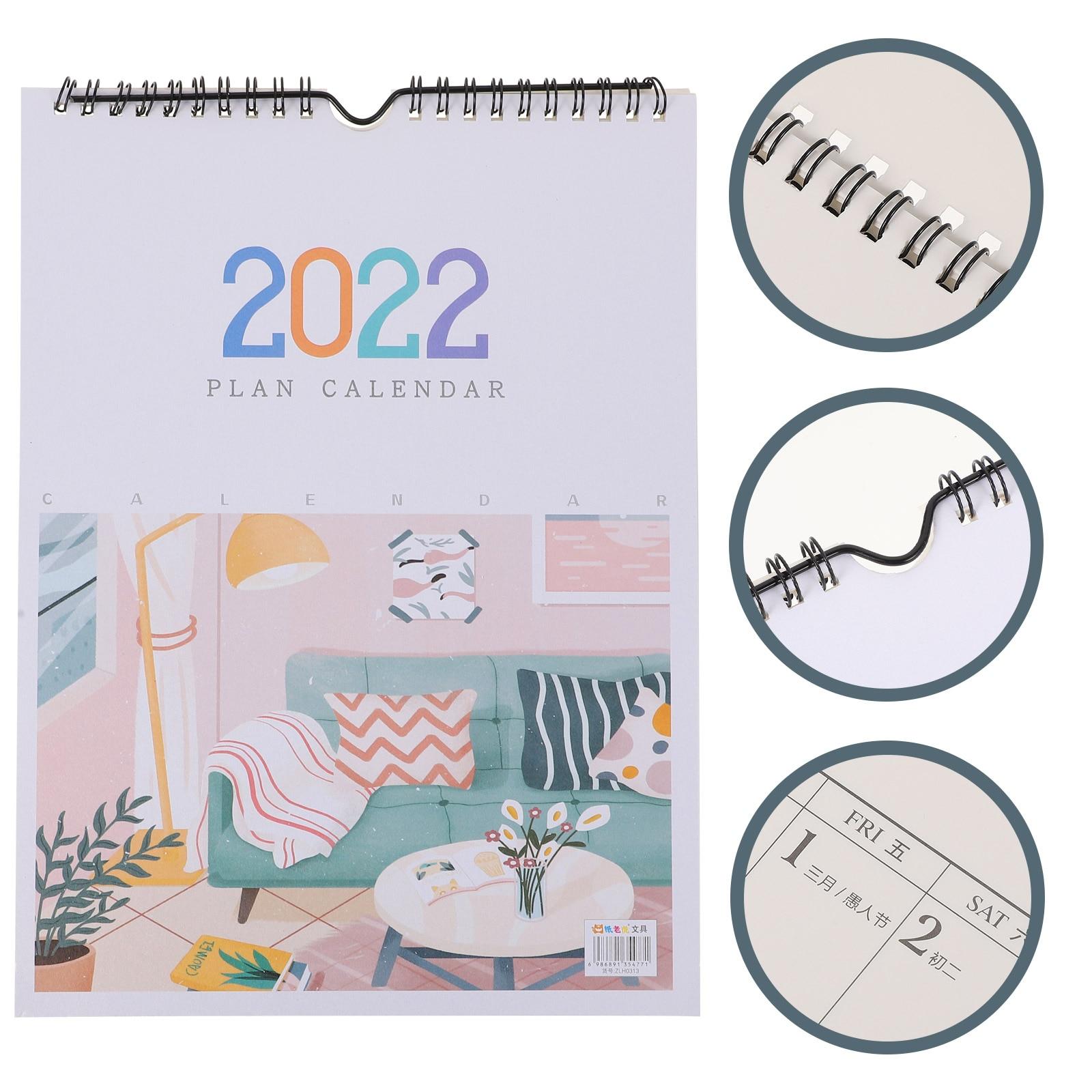 Настенный календарь 2022, ежемесячный календарь, календарь для записей, подвесной календарь (разные цвета), 1 шт.