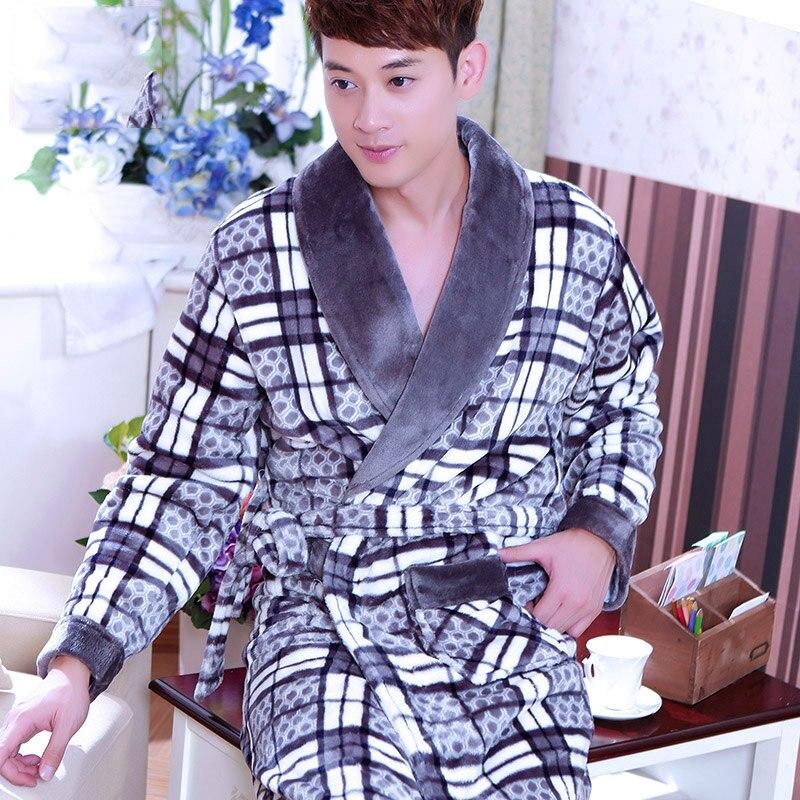 Soft Flannel Coral Fleece Men's Warm Full Sleeve Super Long Bath Robe Male Kimono Bathrobe Dressing Gown Robes for Autumn Winter