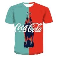 2021 summer new mens and womens creative oversized t shirt coke drink bottle 3d hip hop print short sleeved street trend top