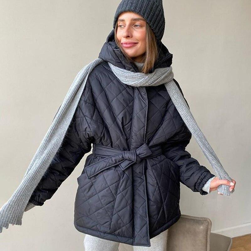 Зимняя женская куртка, новинка 2021, Женская длинная стеганая куртка с капюшоном, теплая утепленная женская куртка, однотонная одежда glissade куртка утепленная женская glissade размер 44