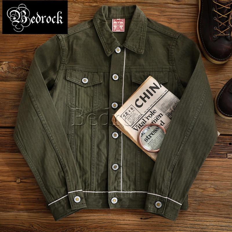 Mbbcar green American retro jacket heavy vintage Red Line Denim multi-pocket long-sleeved denim jacket for men 390