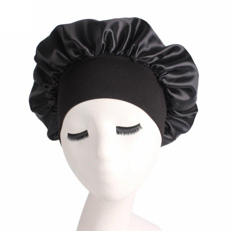 Women Night Sleep Cap Silk Satin Broadside Silk bonnet for Sleeping Hair Care Satin Sleeping Cap Bon