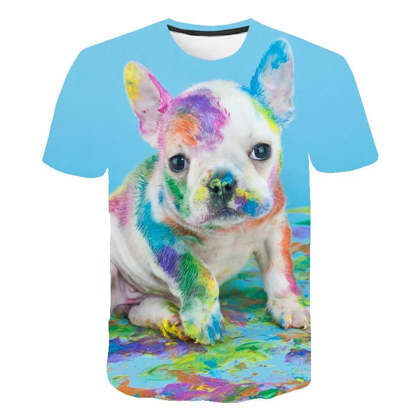 Baby Jungen Mädchen Sommer Tier T-shirt Kid Bunte Hund Tops Tees T Shirt Schöne T-shirt 3d Druck Tie-dye kinder Kleidung 14T