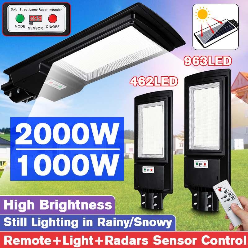 1000 Вт/2000 Вт Цифровой дисплей светодиодный уличный фонарь на солнечной батарее открытый сад 462/963 светодиодный светильник радар Датчик движе...