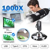 USB цифровой камера для микроскопов электронный микроскоп 8 Led увеличитель биолоджико устройство для мобильного телефона стерео эндоскоп дл...