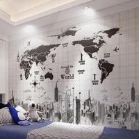 creative sketch city black map wall sticker for living room bedroom room wall decoration vintage airplane art wall sticker