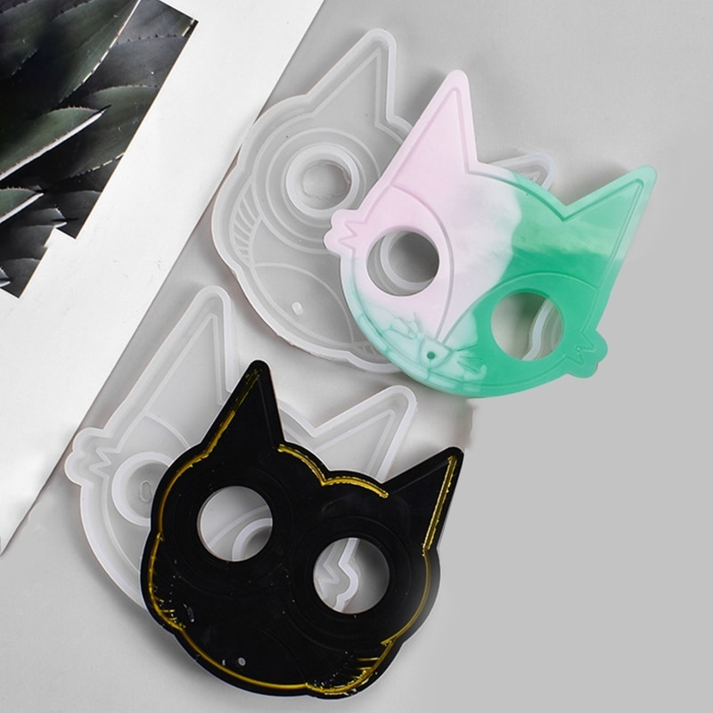 Self-defense Keychain Epoxy Resin Molds DIY Cat Owl Pendant Silicone Mold Handmade UV Resin Art Crafts Necklace Jewelry Making