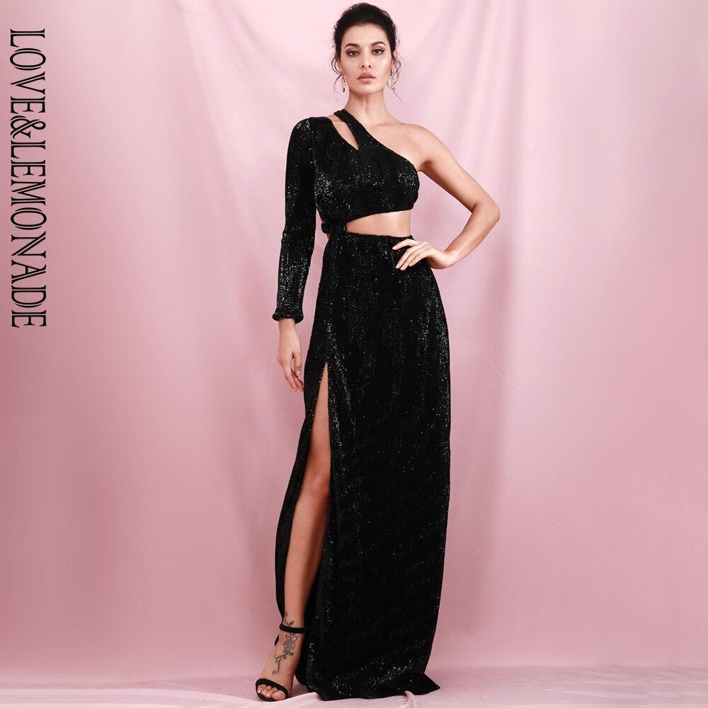 Maxi vestido de fiesta de lentejuelas elásticas con abertura lateral de manga única negro Sexy LOVE & LEMONADE LM82225