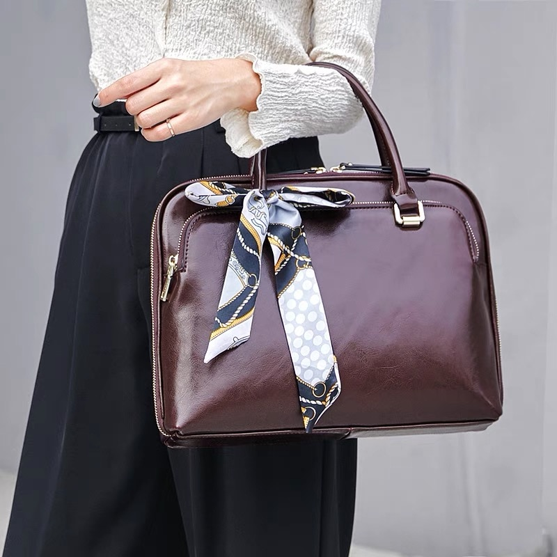 Cowhide Women's Briefcase Business Handbag Women Genuine Leather Bag 13-14 15.6Inches Laptop Computer Bag Office Bags For Female