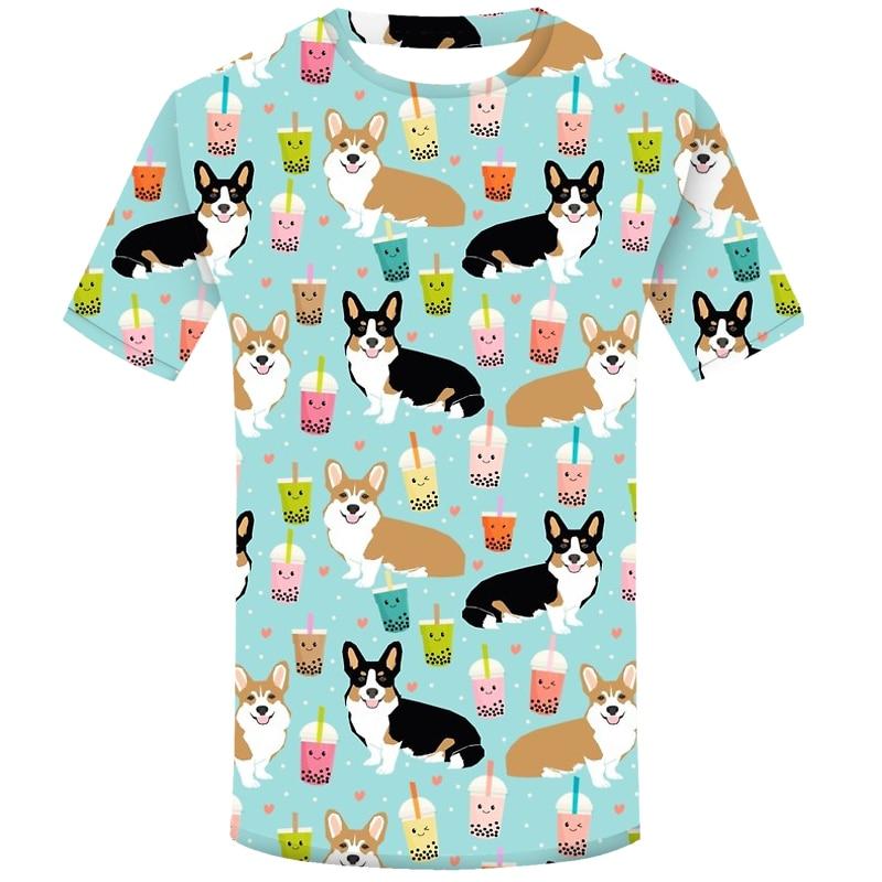 Camiseta de perro de boba de té de Corgi Galés para hombre, camiseta de manga corta con estampado de moda 3d para hombre, camiseta Casual de verano, camiseta divertida, Homme