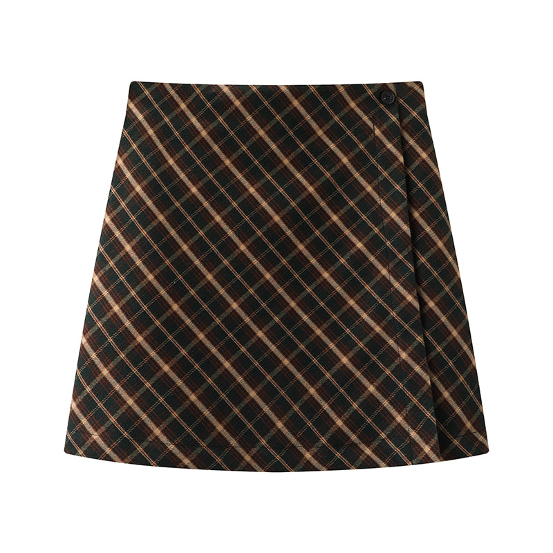 PUWD Y2K Girls Slim Mini Skirts 2021 Summer Fashion Ladies High Waist Plaid Skirt Vintage Women Chic Skirts Cute