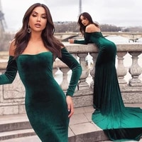 velvet long mermaid evening dress with sweep train backless dark green formal dresses long sleeve plus evening prom gowns