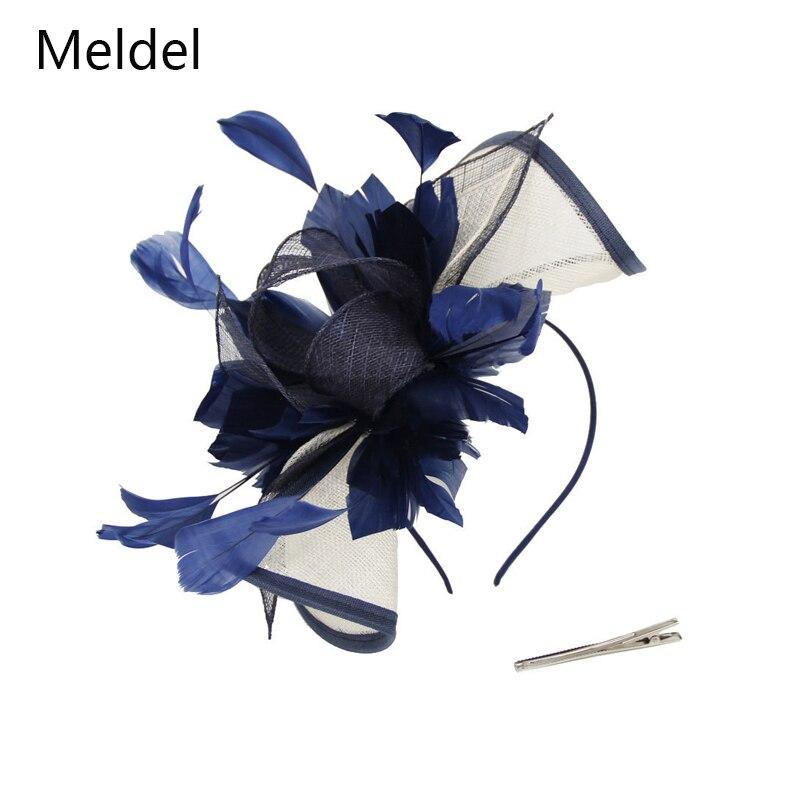 Meddel-قبعة ريش عتيقة للنساء ، إكسسوار زفاف أنيق ، مهرجان سباق الخيل ، غطاء الرأس للمناسبات الرسمية