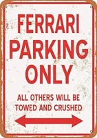 smartcows tin metal sign 8 x 12 inches ferrari parking only bar cafe vintage look wall art decor
