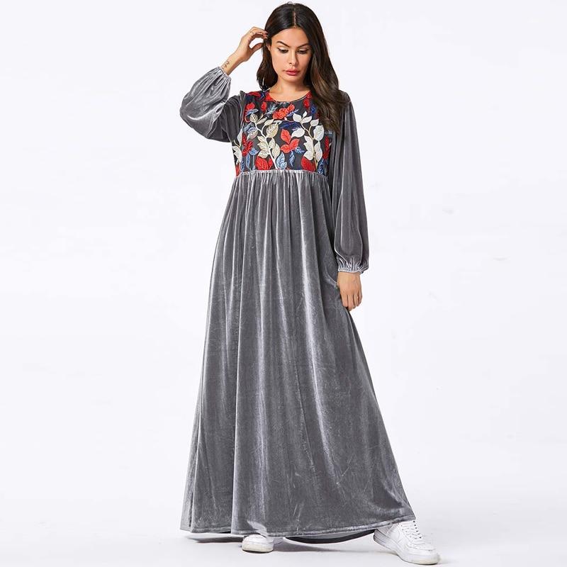 Veludo Vestido Longo Árabe Muçulmano Kaftan Caftan Islâmico Abaya Peru Tesettur Elbise Vestidos Hijab Vestidos Robe Longue Musulmane