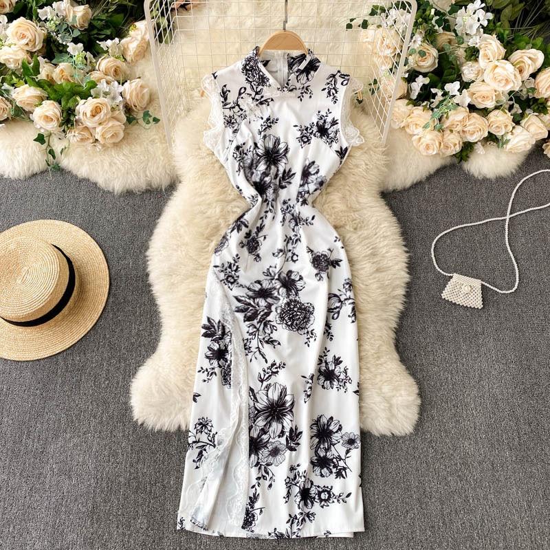 Retro Cheongsam Improved Dress Women's Summer Graceful Stand Collar Design Lace Scheming Split Overk
