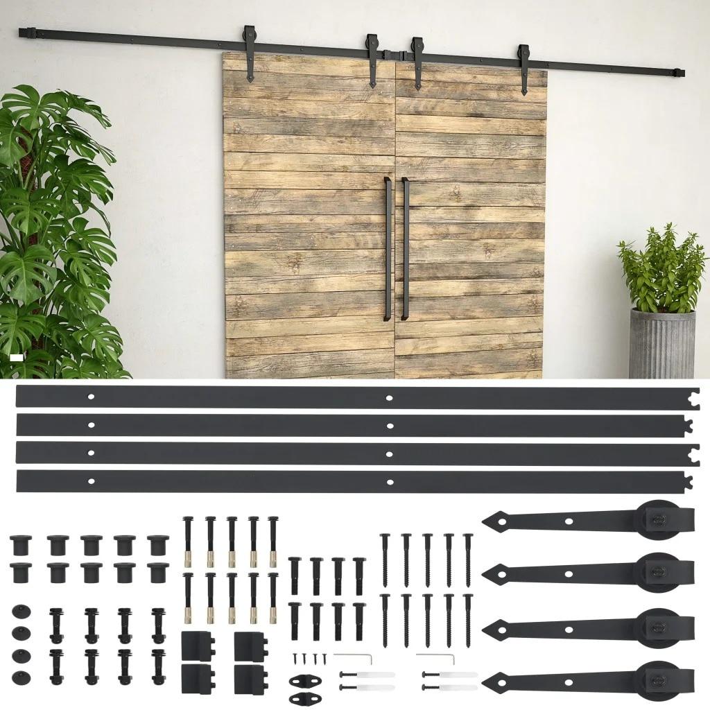 VidaXL acero deslizante puerta de madera de Granero Kit de herrajes 2x183cm Kit de pista deslizante carril colgante deslizante para el movimiento del armario de la puerta negro