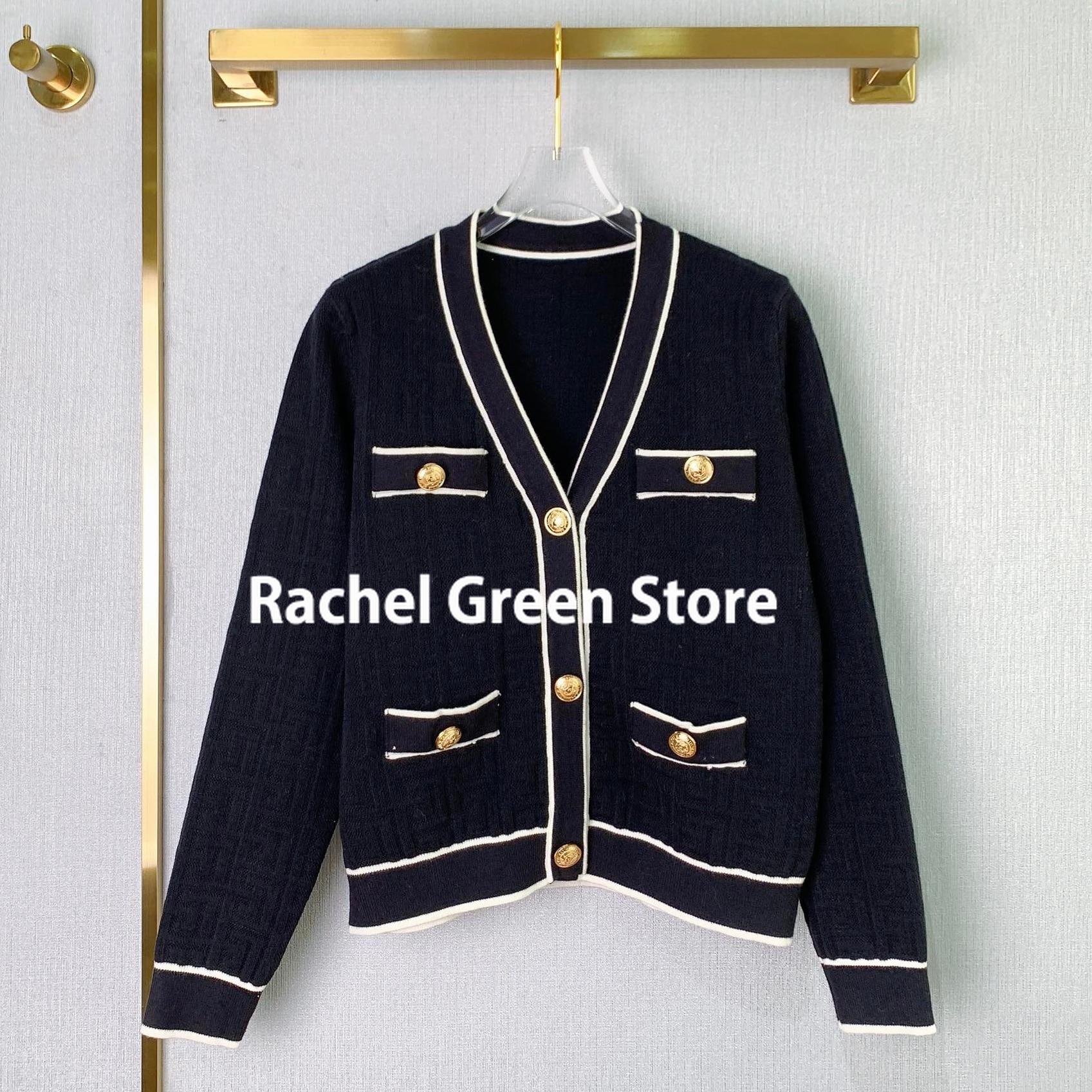 Luxury Designer women branded Maze Series 2021 Autumn Contrast Color Gold Buttos V-neck wool Blended knitted sweater cardigans enlarge