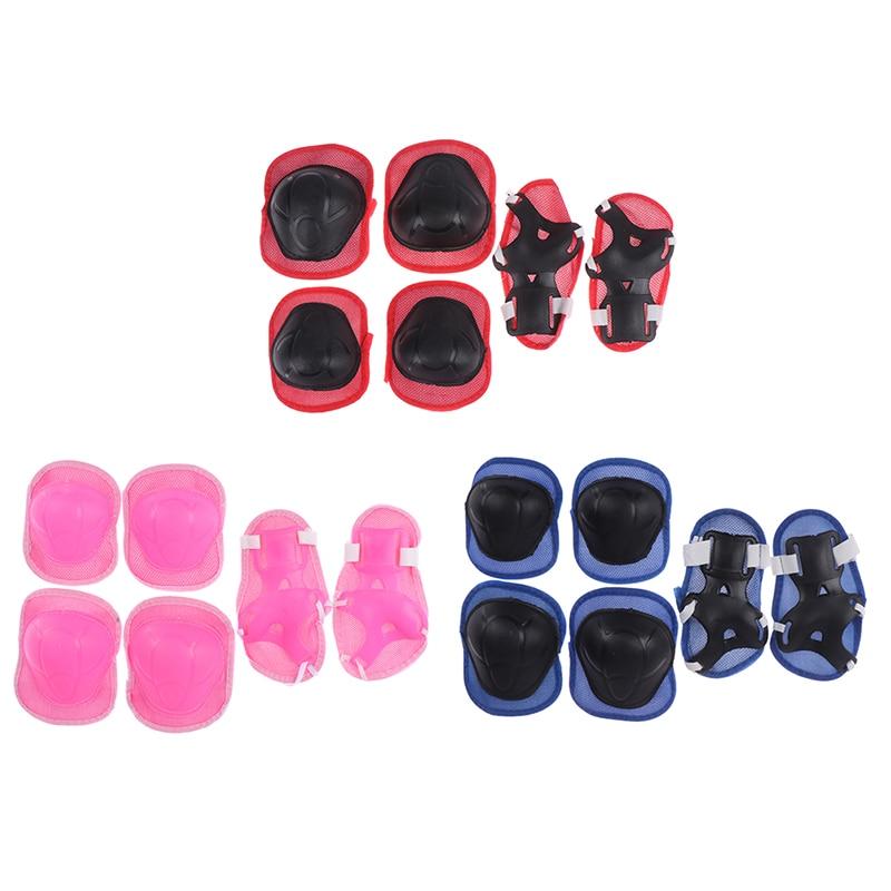 6pc/set Elbow Pads Bicycle Skateboard Ice Skate Roller Knee Protector For Adult Kids Gift Adjustable Skating Protective Gear Set