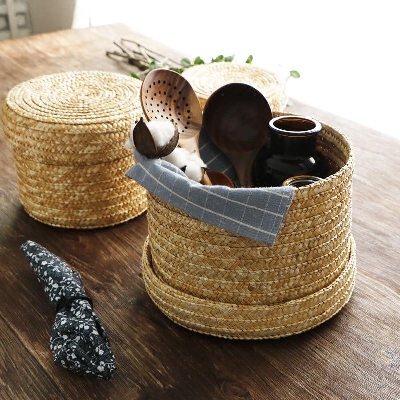 Handmade Straw Woven Storage Basket With Lid Snack Organizer Storage Box Laundry Baskets Rattan Storage Flower Baske