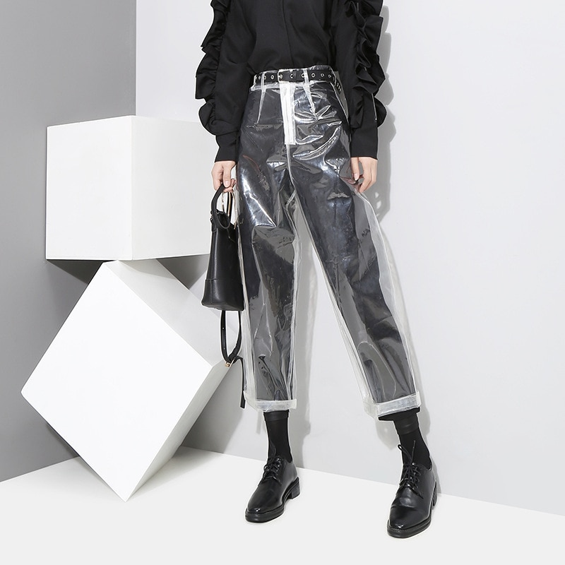 Pantalones casuales para mujer transparentes de nine-cent, lulu lemon, pantalones Harem sólidos con cordón, pantalones de cuero de poliéster harajuku