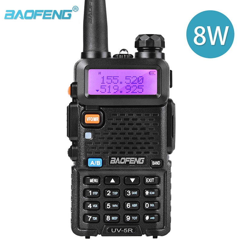 BaoFeng UV 5R Two Way Radio Real 8W 10KM 128CH Dual Band VHF(136-174MHz)UHF(400-520MHz) Amateur Ham Portable Walkie Talkie