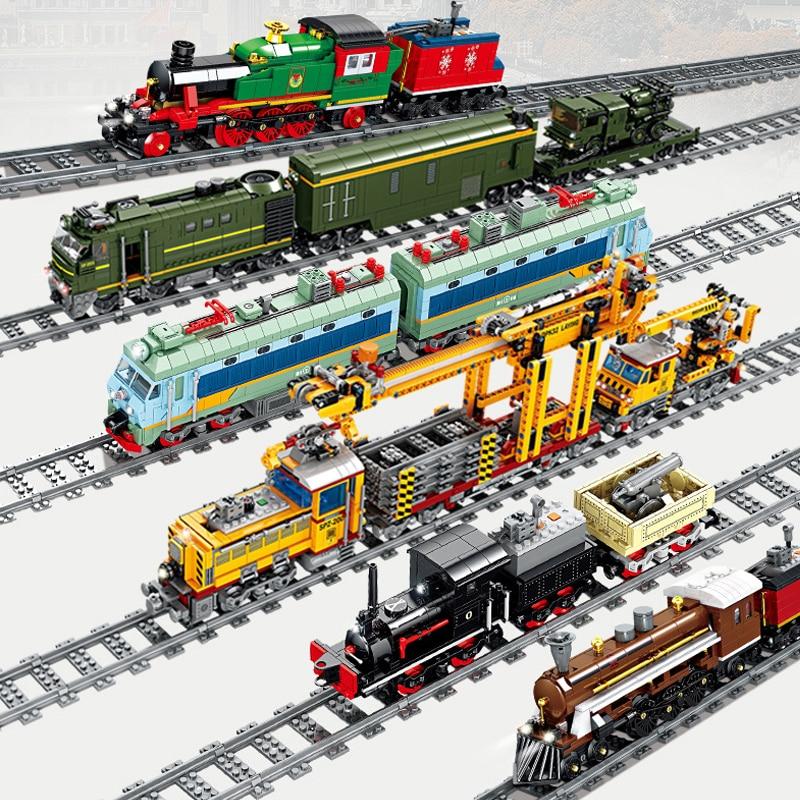 KAZI Electric Train series railway track laying machine engineering doll children's educational assembling toy building block
