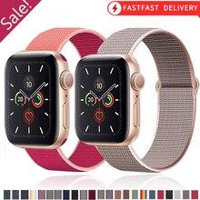 Correa de nailon para Apple watch, pulsera deportiva de 44mm, 40mm, 42mm y 38mm para iWatch series 3, 4, 5 y 6