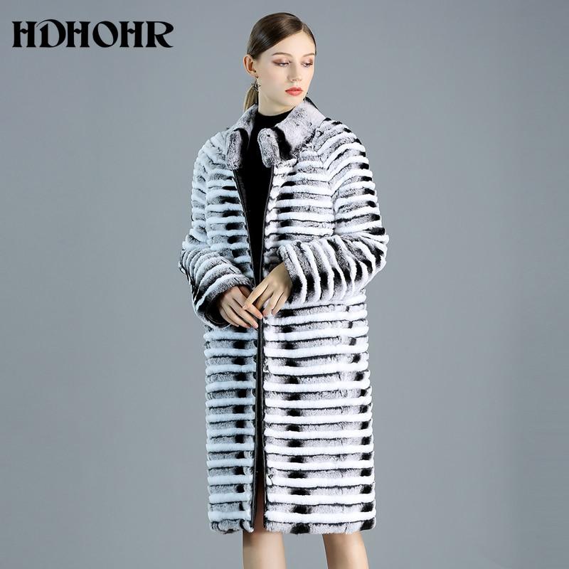 HDHOHR 2021 جديد جودة عالية ريكس الأرنب معطف الفرو النساء مع أسفل lTwo الجانب لارتداء الطبيعية ريكس الأرنب الفراء سترة الإناث