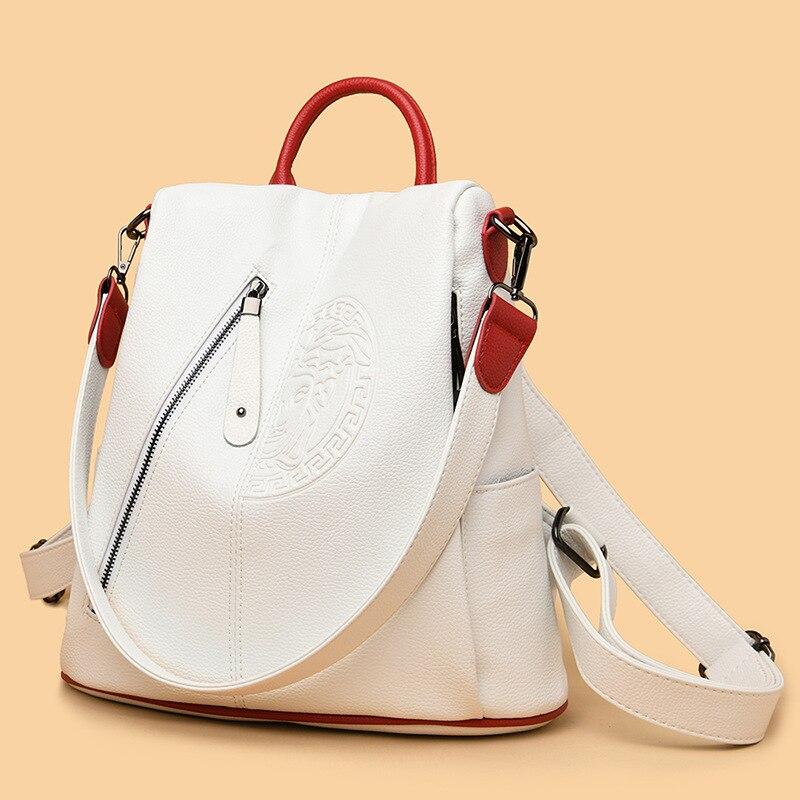 Повседневный Рюкзак женский брендовый кожаный женский рюкзак большая вместительность школьная сумка для девочек тисненый дизайн модные с...