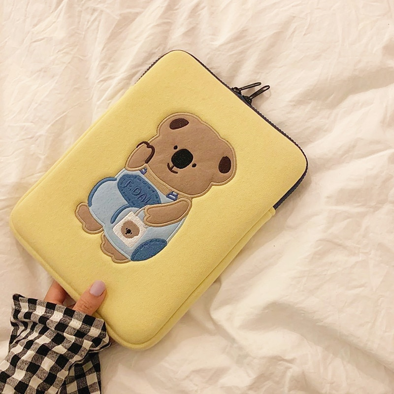 13 inch Thick Mac Tablet Case Cute Bear Girl 11inch iPad Air Sleeve Liner Bag Laptop Storage Pouch