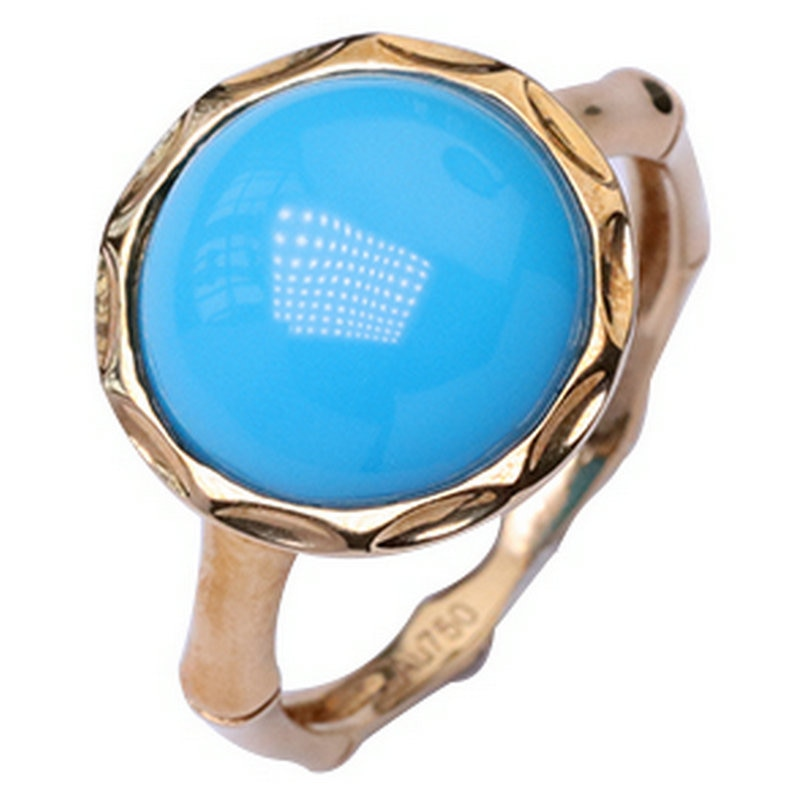 JewelryNatural الأحجار الكريمة 18K الذهب الطبيعي تركواز مخضر خاتم أنيق نوبل خواتم للنساء موضة الاتجاه حفل زفاف