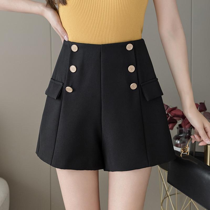 2021 Summer Elegant High Waist Shorts Women Casual Solid Wide Leg Loose Double Breasted Short Pants Korean A-line Woman Shorts недорого