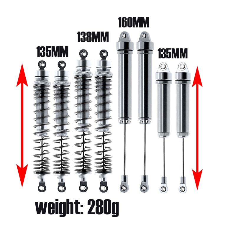 8pcs  All aluminum alloy Front Rear Shock Absorber 135/138/160MM 8460 8450 for RC Car Part Traxxas 1/7 UDR Unlimited Desert Race enlarge