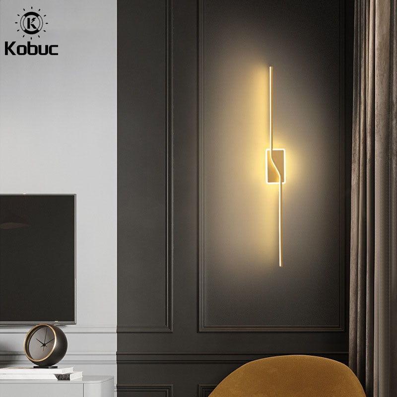 white black nordic aluminum painted metal wall lamp modern led bathroom light mirror room contemporary design kitchen stair Kobuc Nordic Design Aluminium Wall Light Gold Black Sconces 40/60/80/100cm LED Wall Lamp for TV Background Stair Mirror Bedroom