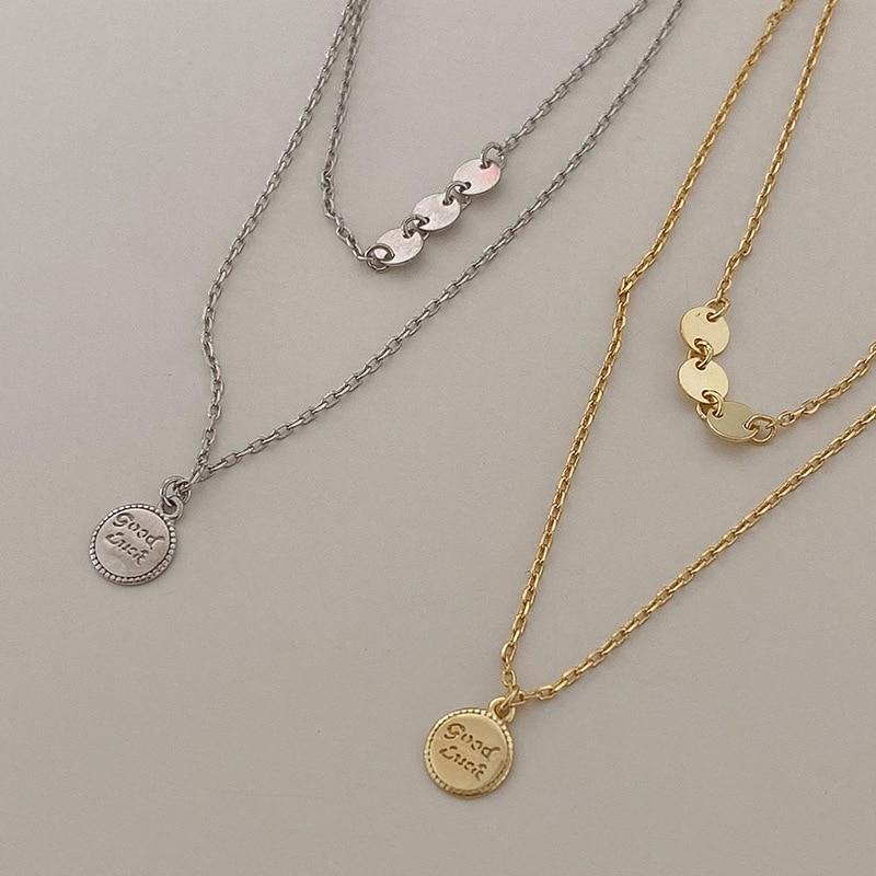 1-шт-s925-Серебряная-Двойная-Цепочка-Слои-письмо-круглый-диск-ключица-цепочка-ожерелье-для-женщин-удачи-кулон-ожерелье-ювелирные-изделия-акс