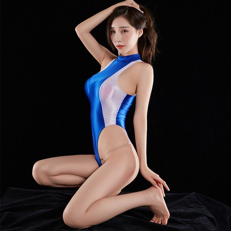 DROZENO Women's Tights Sexy High-neck Bikini Thong Bodysuit Women One Piece Swimsuit