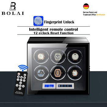 Automatic Watch Winder Safe Box Luxury Brand 6 Slot Wood Watches Boxes with Fingerprint Unlock LCD Touch Screen Watch Storage