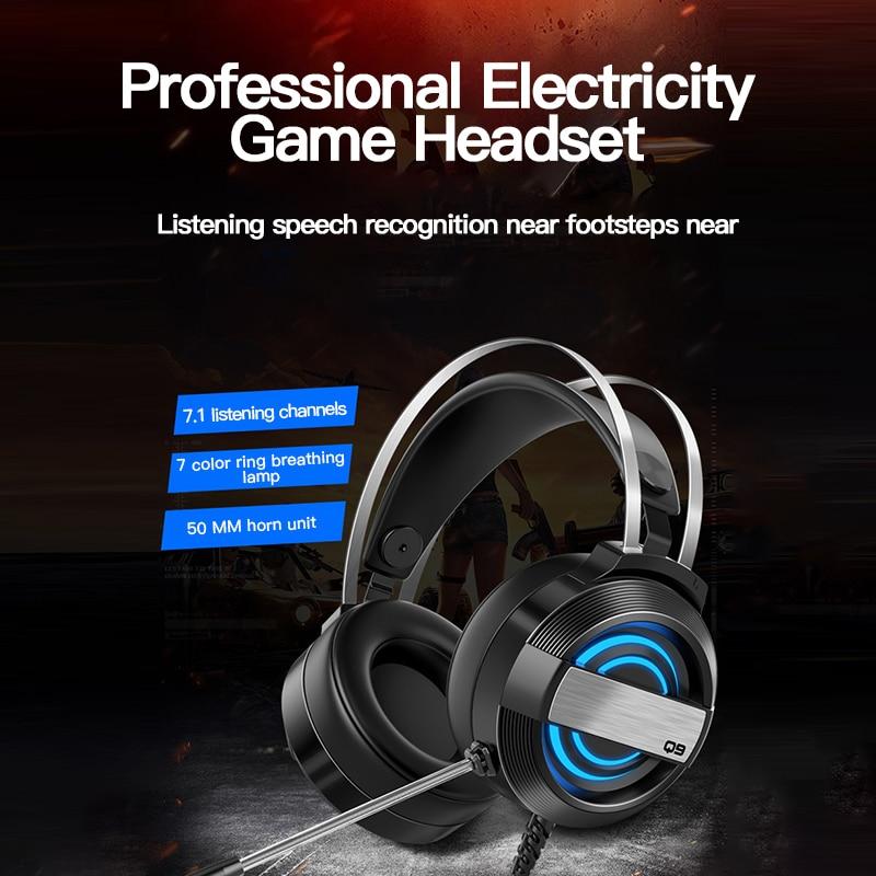 Auriculares con micrófono para Gaming, auriculares con RGB para PC y ordenador, auriculares profesionales para jugadores de teléfonos móviles, 7,1