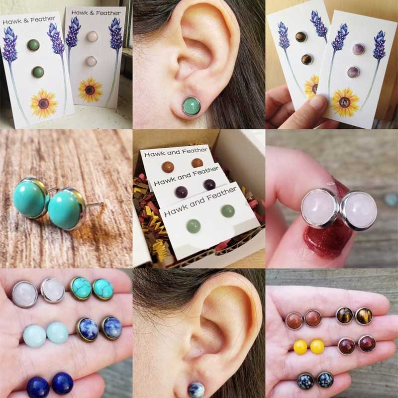Momiji Fashion Bohemian Stainless Steel Natural Stone Ear Studs Jewelry Gifts Charms Crystal Trendy