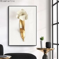 nordic modern contracted atereo golden flower artp decor canvas poster decorative print wall art picture living room20 1214 02