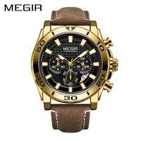Часы MEGIR Мужские кварцевые с хронографом, спортивные брендовые наручные, с кожаным ремешком