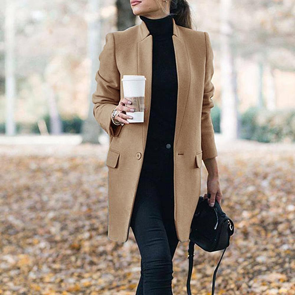 Las mujeres gabardina Abrigo largo de invierno primavera solapa manga larga abrigos...