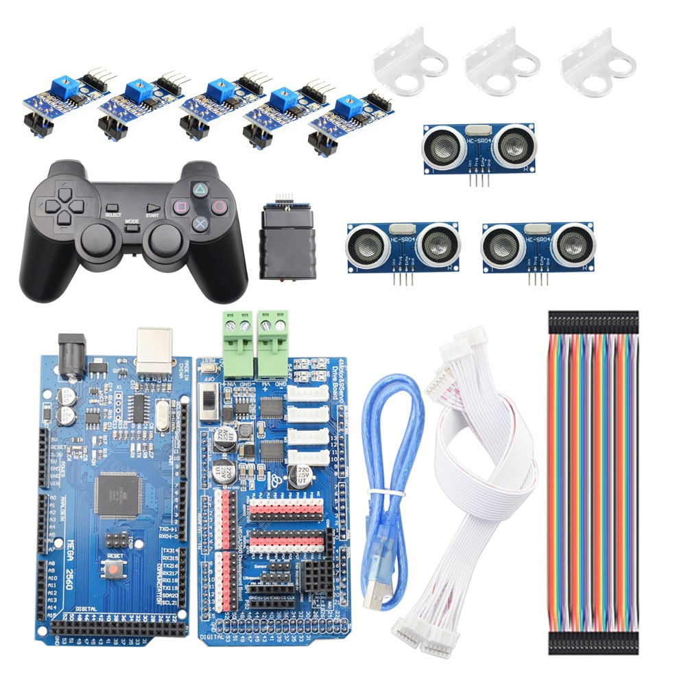 PS2 اللاسلكية RC اردوينو الذكية خط تتبع تجنب عقبة Mecanum عجلة هيكل السيارة عدة خط دورية لتقوم بها بنفسك روبوت طقم قطع غيار