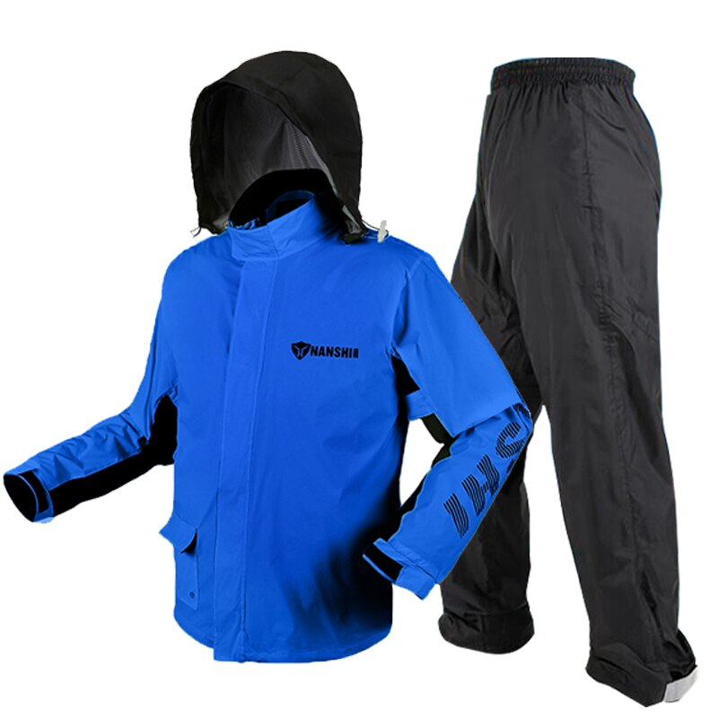 Nylon Motorcycle Raincoat Rain Pants Suit Jacket with Hood Poncho Waterproof Rain Coat Men Thickened Rain Suits Fishing Adults enlarge