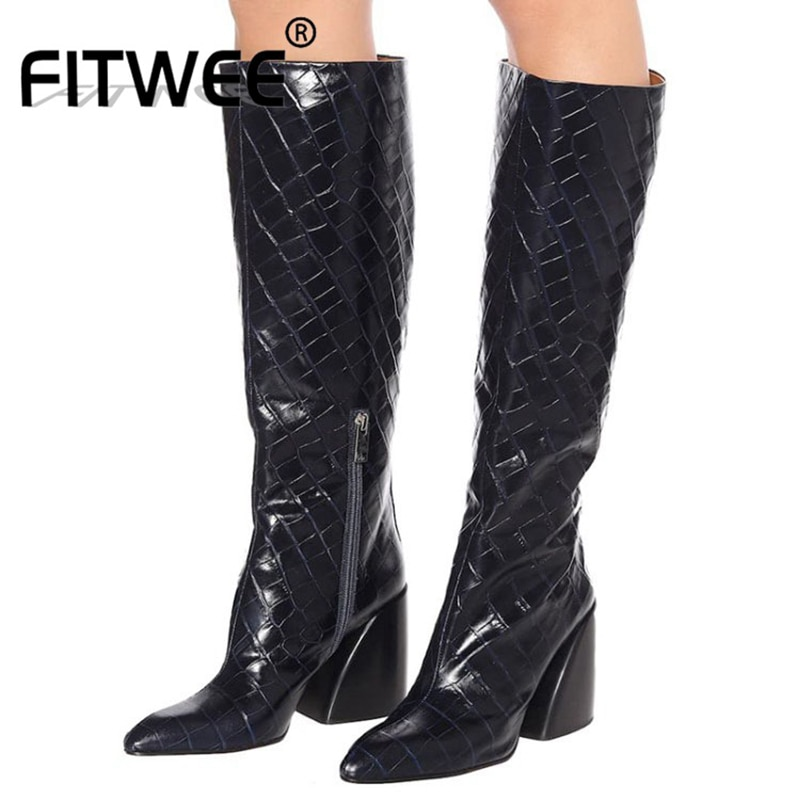 FITWEE Big Size 35-48 Women Hoof Heel Casual Keep Warm Shoes Knee High Zipper Boots Pointed Toe Slim High Footwear
