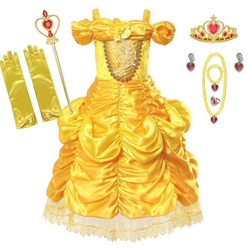 MUABABY chicas Belle vestido de fantasía Shoulderless La Bella y La Bestia princesa traje de los niños de Halloween Cosplay fiesta vestido de bola