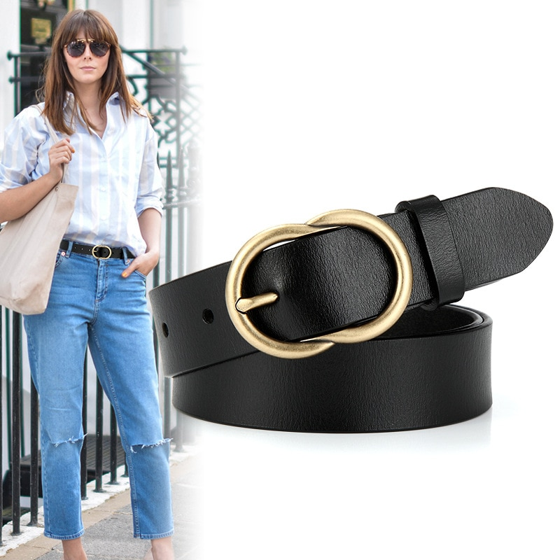 ELEGZO Genuine Belts For Women High Quality Fashion Solid Color Jeans Cowskin Belt Female Pin Buckle  Waistband Hot Selling elegzo genuine leather belts for women fashion retro jeans belt female solid color pin buckle network hot selling waistband