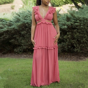 2021 Summer Women Maxi Elegant Party Dress V Neck Sleeveless Sexy Lace Up Backless Ruffle Tunic Long Beach Dress Vocation