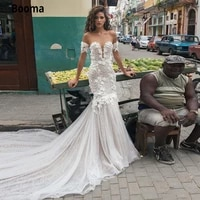 booma luxury mermaid wedding dresses off shoulder backless beading appliques lace wedding gowns court train vintage bridal gown